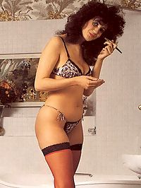 Hairy seventies lady in stockings enjoys a big stiff cock