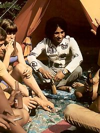 Seventies hippies having a big steamy orgy on a camping