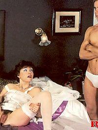 Wet hairy seventies lady pleasing his big stiffy schlong