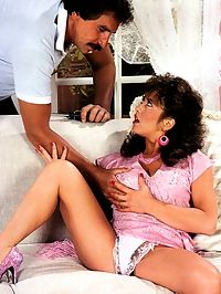 Hairy seventies lady pleases two big dicks at the same time