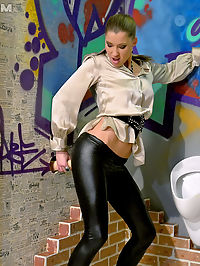 Teenage babe covered in spunk goo in small public toilet