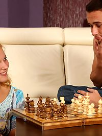 Hot and horny blonde teen girl fucks-n-sucks her chess tutor