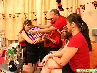 Willing teens having horny cumshot groupsex at her party