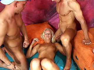 Blonde celebrating a horny sex birthday party at her home