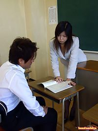 Japanese schoolgirl enjoys the teacher his cock inside her