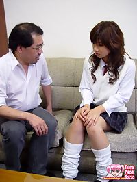 Inspecting a hungry Japanese teenage mouth with his dick