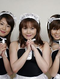 Japanese maids enjoying several cocks inside their slits