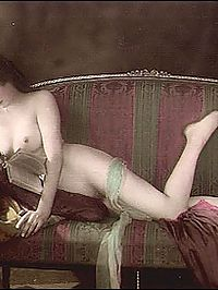 Real vintage color tints naked beauties in the thirties