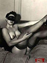 Vintage chicks wear dark black stockings in the fifties