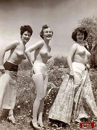 Some real vintage hairy outdoor girls posing in the nude