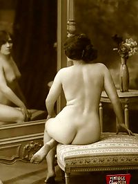 Some vintage girls standing naked in front of their mirrors
