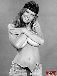 Teenage seventies chick showing her big natural boobies