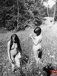 Hairy sixties teen hippies showing their natural bodies
