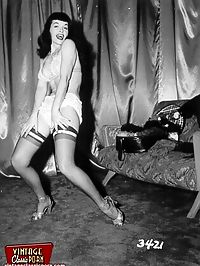 Betty Page loves to dance in stockings in a sensual way