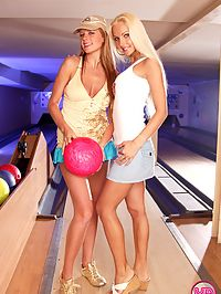 Two pretty busty teenage girls love bowling and kissing