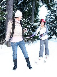 Horny teenage lesbians fondling outdoors in the cold snow