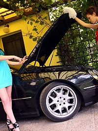 Sexy car cleaning lesbian girl fondles her cute titties