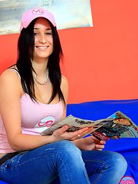 Inserting a big pleasure dildo in her damp teenage snatch