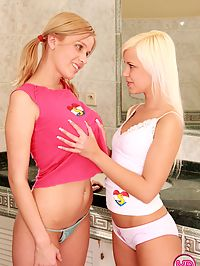 Two busty teen girlfriends toying eachothers tight slit
