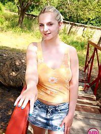 Big boobed teenage cutie loves her big favo toy in nature