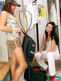 Cute lesbian couple plays naughty games instead of tennis