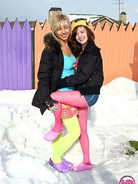 Horny Teenage cuties with big funbags build a huge snow cock