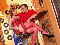 Cute redhead in stockings enjoys an anal pounding session