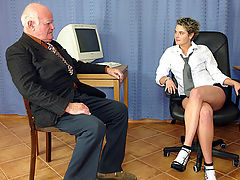 Grandpa releases his boner on this secretary for some money