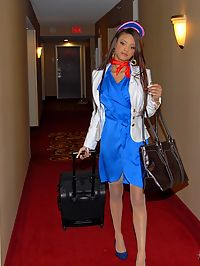 Hot horny big tits flight attendent gets her amazing hot pussy pounded hard after she gets horny in thse pics