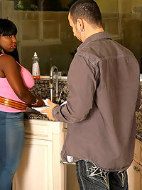 Big ass fucking jugs black babe gets drilled hard against the kitchen counter in these hot fucking pics