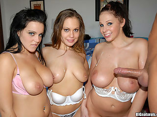 These hot big tittie mamas are smokin cum watch these 3 big tittie girls get down with one lucky man