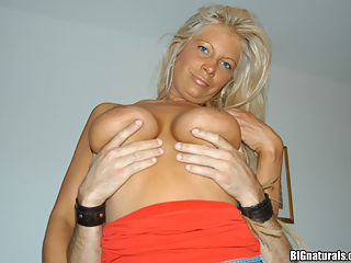 Petite blonde hottie with her big melons riding the cock