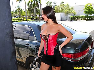 Amazing big rack fine ass babe gets picked up while pumping gas in her garter belt in these hot hard fucking big boob banging pics