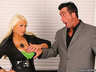 3 minute movie of big tits sandy get her pussy sucked and pounded hard in the office for a hot deal money maker