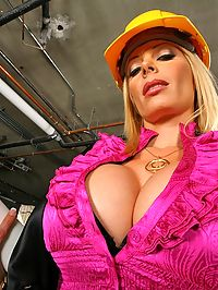Hot big knockers hard hat contruction workers boss gets her juicy pussy and tits fucked hard on site in these amazing cock fucking sucking pics and video