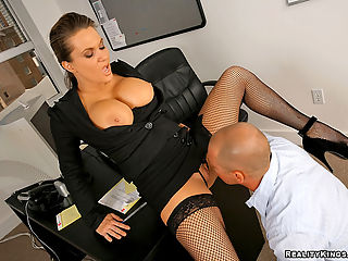 These hot horny bosses show the employees how to suck pussy