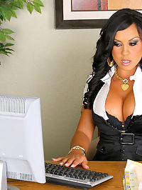 Horny maria masterbates at work but ends up with a hard fuck against the table in these amazing office sex pics