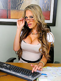 Amazing green eyed dirty blonde big tits sarah gets fucked hard in the office in these hot cum drippin pics