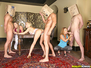Hot ass devon lee gets her tight pussy fucked hard in this amazing bag over the head fucking group sex pics set