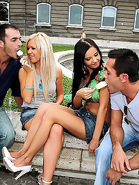 Watch these 2 college babes get nailed in the ass after hooking up on campus in these hot pics