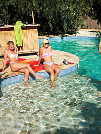 Watch these 5 super hot bikini pool party babes get rammed hard in this full on group sex party in these wet pics