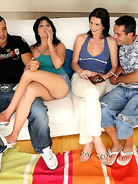Yvette and her euro babe get fucked and creamed on in this amazing euro orgy hardcore update