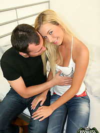 This hot blonde is getting thrown in the middle of a cock sandwich here