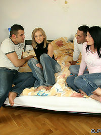 These 2 euro babes get thrown in the mix of this gangbang
