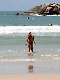 Super hot blonde braziliana gets slammed in the ass at the hot beach