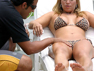 This sexy blonde brazillian hottie takes a bucket full of cum in these super hot bikini fuck pics