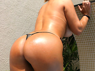 Brazillian cutie goes from the pool to the nut shot to the pool in these hot pics