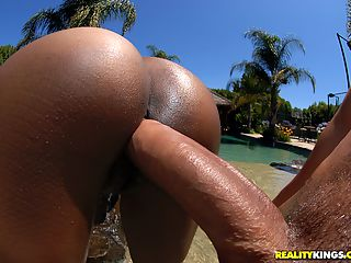 Super mega ass black babe lala sucks mody dick in these hot poolside resort fucking pics