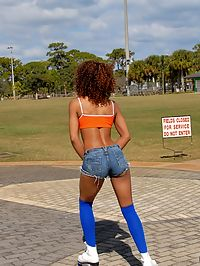 Super hot ass ebony babe roller skating by the beach gets picked up for some hot power fucking and cum shots in these beach side pics