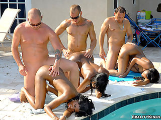 Amazing triple hawaiin pool party heads off this hot 3some of amazing brown ass and pool fucking